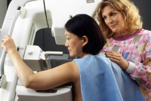 A Woman Receiving A Mammogram