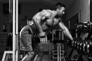 Bodybuilder Focusing on Movement
